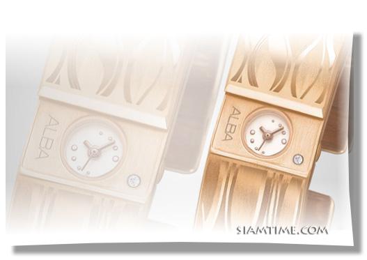 นาฬิกากำไล สี pink gold ผู้หญิง ยี่ห้อ alba รุ่น AC3T46X