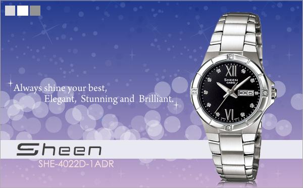 นาฬิกาข้อมือผู้หญิง ยี่ห้อ casio รุ่น SHE-4022D-1ADR